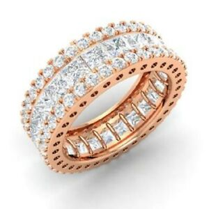 5.20 Ct Princess Diamond Engagement Eternity Band 14K Rose Gold Ring Size 4 5