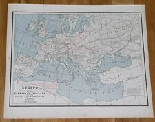 1890 MAP OF EUROPE MIGRATION PERIOD BARBARIAN INVASION ROMAN EMPIRE FALL GOTHS