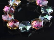 5pcs 20mm Hexagon Faceted Crystal Glass Loose Craft Beads Rose Green Fittings