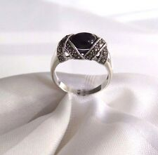 925 STERLING SILVER MARCASITE BLACK ONYX   RING SIZE 9