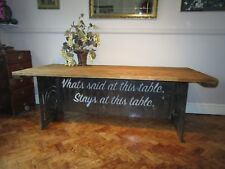 Dining table, industrial, reclaimed wood, table, tables, metal base, antique,