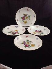 "Mitterteich Bavarian China - Meissen Floral - Set of 4 Soup Bowls 8"""