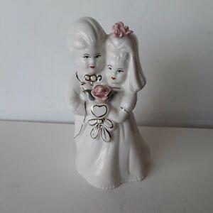 Vintage Bride And Groom Porcelain Cake Topper Figurine, Pink Porcelain Flowers