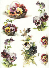 Rice Paper for Decoupage, Scrapbook Sheet, Craft Pansies in Basket
