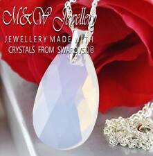 925 SILVER NECKLACE PEAR/ALMOND WHITE OPAL 28MM CRYSTALS FROM SWAROVSKI®