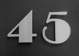 """Large 6""""/15cm stick-on Art Deco house/door numbers 2mm brushed stainless steel"""