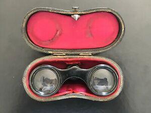 Pair Of Binoculars Theatre Antique A.Bardou Paris And Case Leather - REF51502