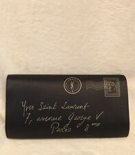 YSL Y-Mail Black Satin Clutch Evening Bag Handbag, Metallic Gold Accents
