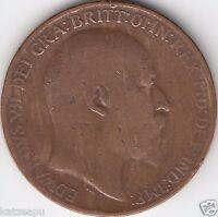 Großbritannien 1910 - King Edward VII.- One Penny Münze