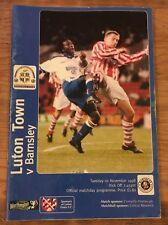 Luton Town V Barnsley Official Matchday Programme Tues 10th Nov '98