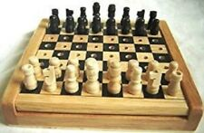 CHESS SET. WOODEN. PEGGED PIECES. 12cm.  NEW