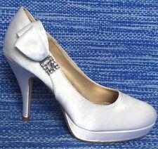 New Unlisted Secret File Wedding White Satin Heels Rhinestones & Bow sz 6 M