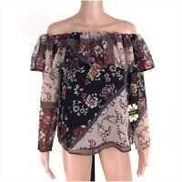 Cliche Black Rose Multi Color Floral Off The Shoulder 3/4 Sleeve Top Size XS NWT