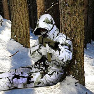 Winter Snow Field Bionic Camouflage Waterproof Ghillie Suit Padded Jacket Pants