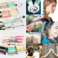 6pcs Elastic Mixed Hair Ties Knot Ponytail Holder Hairband Bracelets Ribbon Band