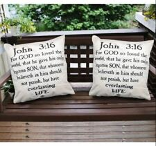 16 x 16 Inches Decorative Square Throw Pillow Case (John 3:16) Set of 2