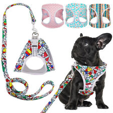 Reflective Small Dog Harness and Leash Set Adjustable Padded Vest French Bulldog