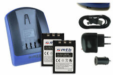 2x Baterìas + USB Cargador Li-10B/12B para Olympus FE-200, IR-500, X-500