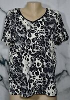 WHITE STAG White Gray Black Animal Print Crinkle Look Short Sleeve Top Large