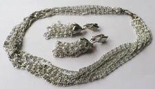 parure bijou vintage couleur argent ultra léger b.o clips+collier signé * 5324