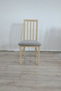 Wooden chair, strong and solid, beech wood, white with grey fabric, Ramen