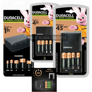 DURACELL BATTERY CHARGER + Rechargeable Batteries AA AAA C D 9V  Pre-Charged UK