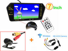 "Bluetooth MP5 7"" LCD Car Rearview Mirror Monitor +Wireless Reverse Backup Camera"