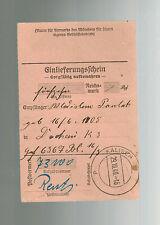 1941 Kalisch Poland to Germany Dachau KZ Concentration Camp money order Receipt