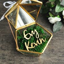 Personalized Pentagon Jewelry Box Ring Bearer Pillow, Wedding Glass Ring Holder