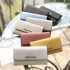 Michael Kors Womens Credit Card Holder Medium Large Leather Trifold Wallet Black