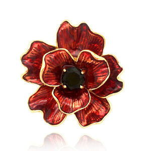 Flower Brooch for Women with Burgundy Red Open Petals and black stone pins BR506