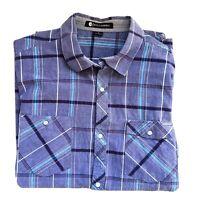 Billabong Mens Blue Check Short Sleeve Button Casual Shirt Size Large