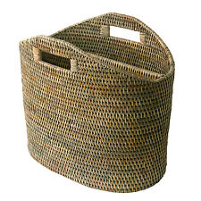 Best Quality Fine Grey Rattan Newspaper Magazine Basket Storage Holder Rack