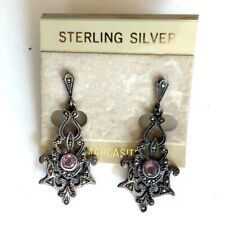 Sterling silver dangling stud marcasite earrings w/ ornate design and gem stone