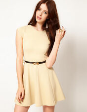 Club L Fit And Flare Dress With Belt UK 10 EU 38 US 6 Nude