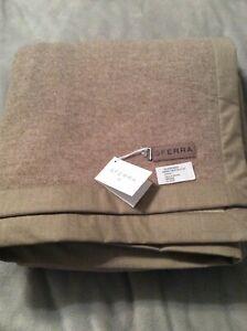 Sferra Brown Nerino Extra Fine Queen Merino Wool Blanket NWT  240x255