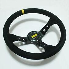 """Universal 350mm Black Suede Racing Deep Dished Steering Wheel 14"""" Sport 003"""