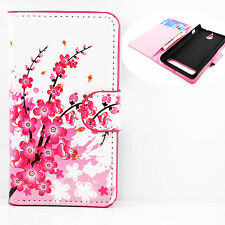 Wallet Leather Magnetic Flip Pocket Holster Case Cover for Various Smartphones Pink Cherry HTC One Mini 2 M8 Mini