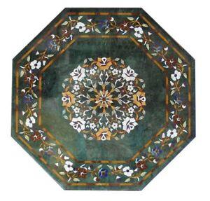 "24"" Green Marble Table top Semi precious stones inlay floral handmade work decor"