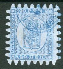FINLAND 1866 20 P. blue, roulette III fine used
