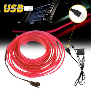 Cool RED LED Car Interior Decoration Atmosphere Wire Strip Light Accessory USB