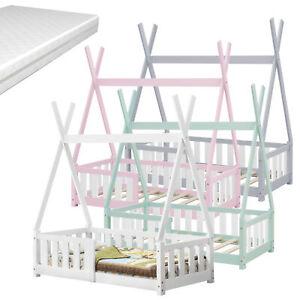 Kinderbett + Matratze 70x140cm Tipi Holz Bettenhaus Hausbett mit Rausfallschutz