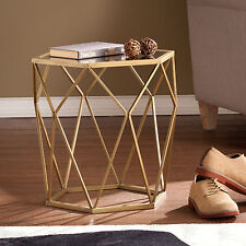 MAT02032 GOLD GEOMETRIC ACCENT END TABLE WITH ANTIQUE MIRROR