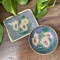 Vintage Trinket Dish Tray Brass & Painted Grey Enamel Floral Bohemian Decor