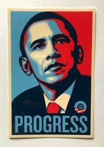 Shepard Fairey Progress Obama official sticker obey not banksy invader kaws