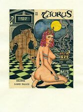 Taurus, Tarot, Nude, Ex libris Bookplate  Etching by Paolo Rovegno, Italy