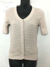 H&M Womens Juniors Short Sleeve Snap Up Light Pink Cardigan Size Small