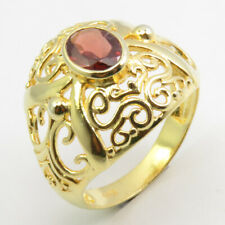 Celtic Finger Ring # 7 Art Gift Solid Sterling Silver Yellow Gold Plated Garnet