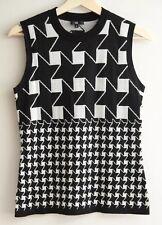 CUE Size M (10 12) Geometric 50% Wool Sleeveless Knit Top, VEST Black White
