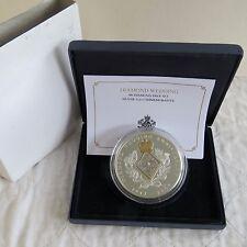 2007 boda de diamante 5oz .999 Fina Plata Prueba De Medalla Con Diamantes Pavé Conjunto de 60